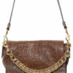 Elena Ghisellini Grained Leather and Gold Chain Shoulder Bag