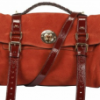 Red/Brown Mulberry Fox Lock Maxi Grain Nubuck Satchel