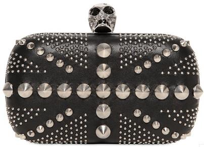 Alexander McQueen Skull Box Clutch british flag black Silver Alexander McQueen Skull Box Clutch