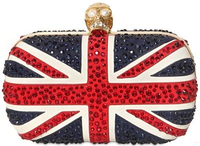 Alexander McQueen Skull Box Clutch british flag Silver Alexander McQueen Skull Box Clutch