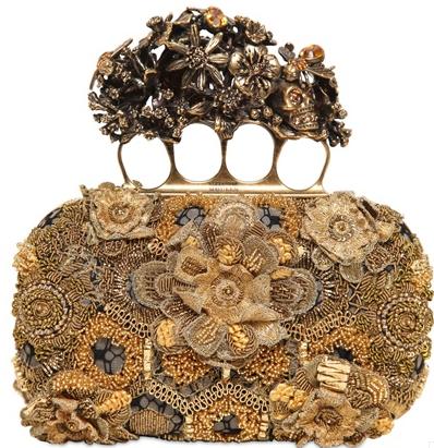 Alexander McQueen Skull Box Clutch gold embroidery Silver Alexander McQueen Skull Box Clutch