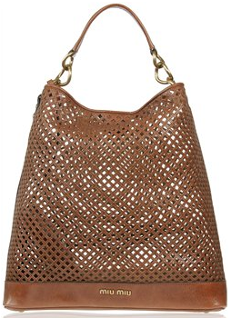 CAGED LEATHER MIU MIU TOTE Caged Leather Brown and Black Miu Miu Tote