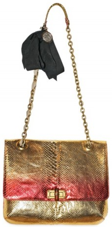 lanvin happy python gold and pink metallic shoulder bag Lanvin Happy Python Metallic Shoulder Bag