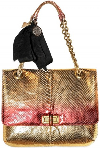 lanvin happy python metallic shoulder bag Lanvin Happy Python Metallic Shoulder Bag