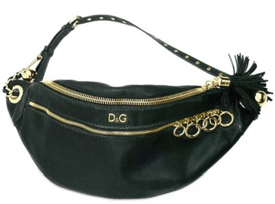 dg fanny pack black D&G Medium Washed Calfskin Body Shoulder Bag