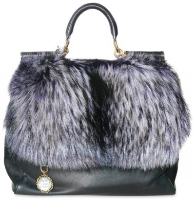 Dolce Gabbana Purple Fox Fur and Nappa Tote Dolce & Gabbana Purple Fox Fur and Nappa Tote