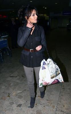 Cheryl Cole Stella McCartney Falabella Botanical print tote Stella McCartney Falabella Chain Bag