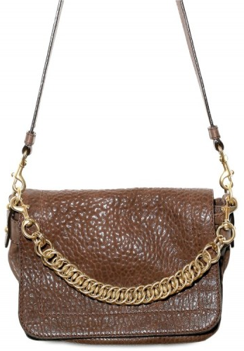 Elena Ghisellini Grained Leather and Gold Chain Shoulder Bag Elena Ghisellini Grained Leather and Gold Chain Shoulder Bag