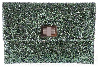 green anya hindmarch valorie Anya Hindmarch Valorie Glitter Clutch