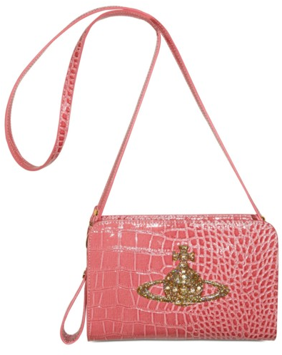 Vivienne Westwood Eco Leather Shiny Croco Print Shoulder Bag  Vivienne Westwood Eco Shiny Croco Shoulder Bag