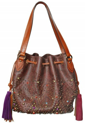 Etro Multicolour Jacquard Shoulder Bag Etro Multicolour Studded Jacquard Shoulder Bag