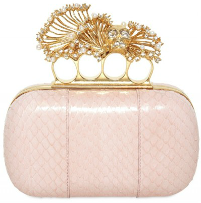 Alexander McQueen Real Pearl Watersnake Box Clutch Alexander McQueen Real Pearl & Watersnake Box Clutch