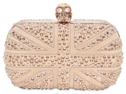 Alexander McQueen Suede Swarovski Britannia Skull Box clutch Alexander McQueen skull box clutch