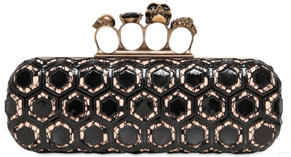 Alexander McQueen Knuckleduster Clutch laser cut Alexander McQueen Gold Ring Knuckle Box Clutch