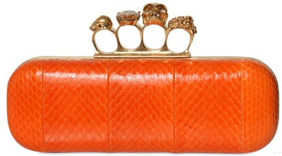 Alexander McQueen Knuckleduster Clutch orange Alexander McQueen Gold Ring Knuckle Box Clutch