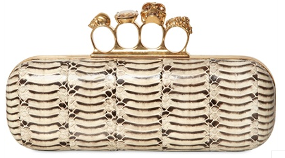 Alexander McQueen Knuckleduster Clutch tiger snakeskin Alexander McQueen Gold Ring Knuckle Box Clutch