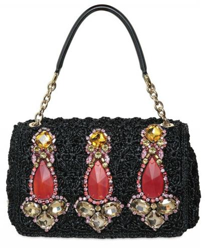 Dolce Gabbana Miss Charles Jewelled Raffia Totes Dolce & Gabbana Miss Charles Jewelled Raffia